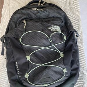 Mint green and grey North Face backpack